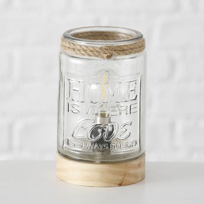 ΛΑΜΠΑ-LED ΕΠΙΤΡΑΠΕΖΙΑ H15cm 2xAAA 1,5V not included, bulb included ΞΥΛΟ ΓΥΑΛΙ