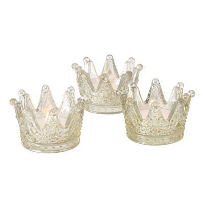 ΚΗΡΟΠΗΓΙΟ ΡΕΣΩ ΚΟΡΩΝΑ SET/3 ΧΡΥΣΗ ΓΥΑΛΙ Crown,  H5cm